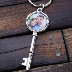 Vintage Key Personalized Photo Keychain