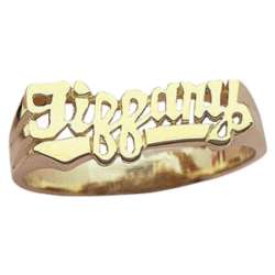 10K Gold Script Name Ring