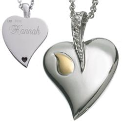 Sterling Silver Memorial Heart Engraved Pendant