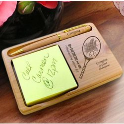 Personalized Tennis Wooden Notepad and Pen Holder