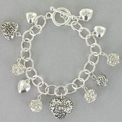 Heart and Crystal Bead Silvertone Charm Bracelet