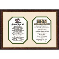 Home Rules and the Ten Commandments Framed Print