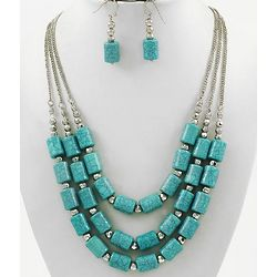 Turquoise Acrylic Necklace and Earring Set