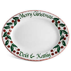 "Personalized 13"" Holly Serving Platter"