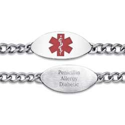 Stainless Steel Medical Alert Engraved Red Oval Bracelet