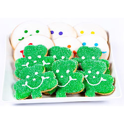 St. Patrick's Day Shamrock and Smiley Face Cookies
