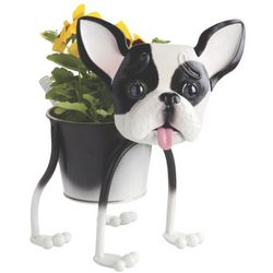 "Bruce the French Bulldog 10"" Metal Planter"