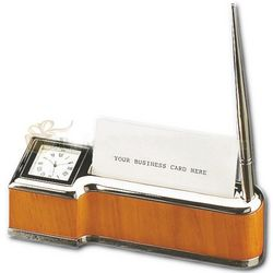 Wood and Silver Card Holder Pen Stand Clock