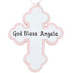 Personalized God Bless Pink Cross Ornament