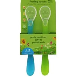 2 Aqua & Green Feeding Spoons for 6-12 Months