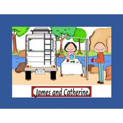 Personalized RV Motorhome Couple Cartoon