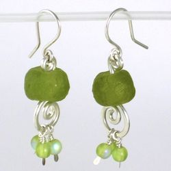 Eco-Friendly Sterling Silver Green Chandelier Earrings