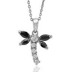 Sterling Silver CZ Dragonfly Pendant Necklace