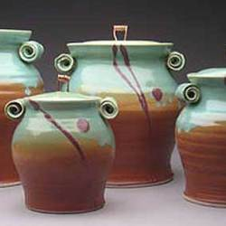 Copper Handle Pottery Canister Set