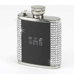 Engraved Crystal Flask with Black Center