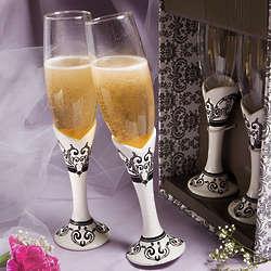Distinctive Damask Porcelain Champagne Flutes