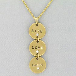 Live Love Laugh Goldtone Pendant Necklace