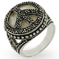 Sterling Silver Marcasite Mother of Pearl Peace Sign Ring