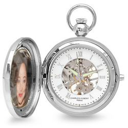 Picture Frame Mechanical Pocket Watch and Chain
