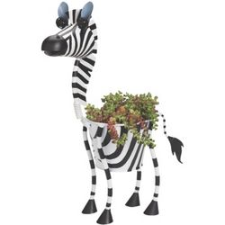 "Zoe the Zebra 15"" Metal Planter"