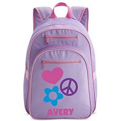 Large Purple Personalized Peace Backpack