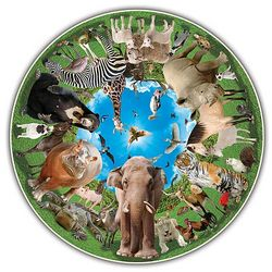 Animal Arena Round Jigsaw Puzzle