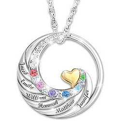 Family Circle of Love Personalized Sterling Silver Pendant