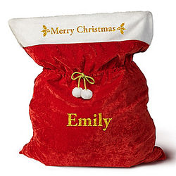 A Merry Christmas Personalized Santa Bag with Cinch-able Cord