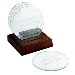 Engraved Glass Coasters with Wood Holder