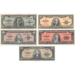 Pre-Castro Cuban Pesos Money Set