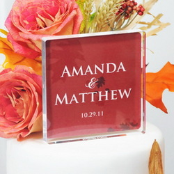 Fall Personalized Wedding Cake Topper