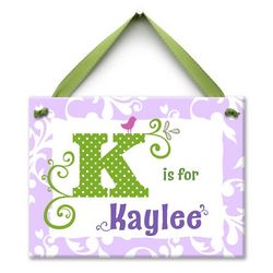 Lavender and Green Personalized Monogram Me Wall Art