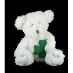 Plush White Teddy Bear with Shamrock