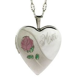 Sterling Silver Mom Heart Photo Locket with Rose