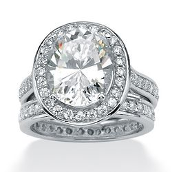 Platinum Oval-Cut and Round Cubic Zirconia Ring Set