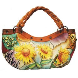 Hand Painted Large Hobo Bag