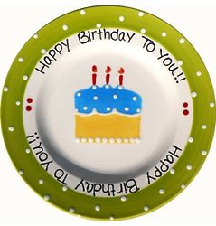 Green Dot Personalized Birthday Plate