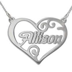 Personalized Sterling Silver Heart Name Necklace