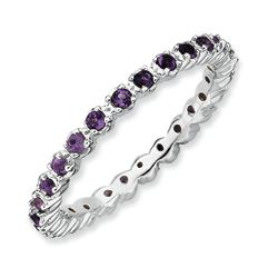 Sterling Silver Amethyst Stackable Band