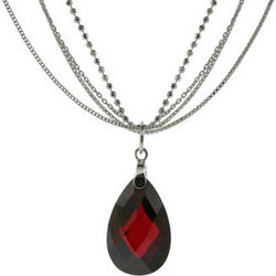 Multi-Strand Silver Garnet Drop Necklace