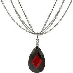 Multi-Strand Silver Garnet Drop Necklace