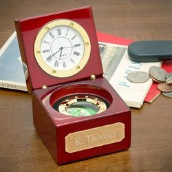Cherry Wood Desk Clock and Compass