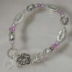 Sister's Personalized Sterling Silver Filigree Heart Bracelet
