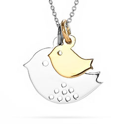 Mom and Baby Bird Sterling Silver Necklace