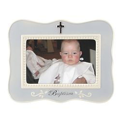 Baptism Cross Picture Frame in Blue