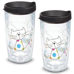2 Polka Dot Cat 16 Oz. Tervis Tumblers with Lids