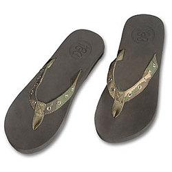 Women's Camo & Grommet Flip Flops