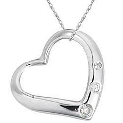 Three Stone Diamond Heart Pendant in 14k White Gold