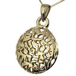 14K Gold Filigree Shema Yisrael Pendant