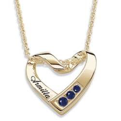 Personalized Gold Over Sterling Birthstone and Name Heart Pendant